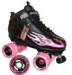"SURE-GRIP ""Rock Flame"" Quad Roller Skates Size 8 UK Only Black/PINK SALE Roller Derby"